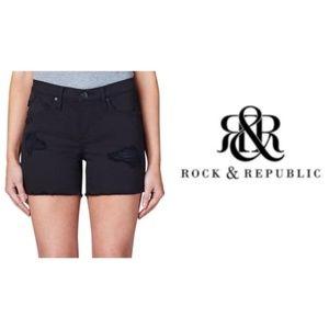 Womens Rock & Republic Black Distressed Shorts 16